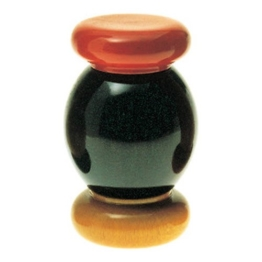 Alessi Salzmühle aus Buchenholz, schwarz, rot und gelb -