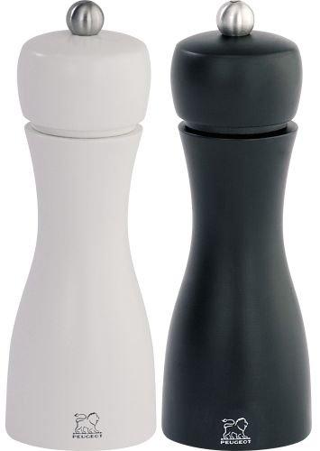 Peugeot 2/24260 Tahiti Duo Pfeffer-/Salzmühlenset Holz, 5,2 x 5,2 x 15 cm, matt weiß / schwarz -