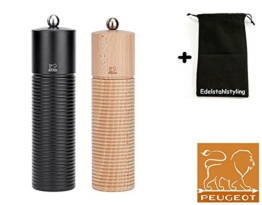 Peugeot Set ESTEREL Pfeffermühle + Salzmühle schwarz / natur - 21 cm + Stoffbeutel -