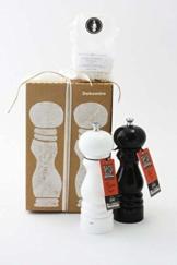 Peugeot Set Paris Pfeffermühle und Salzmühle | schwarz weiß 22 cm u-select | Dekomiro Geschenkset mit 100 gr. Salz -