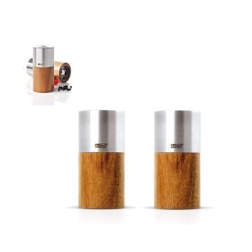 Pfeffer + Salzmühlen Set GOLIATH SMALL Edelstahl/Akazie – AdHoc Design -