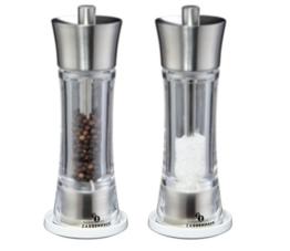 Salz- und Pfeffermühle Aachen 18 cm Edelstahl/Acryl mit Untersetzer -