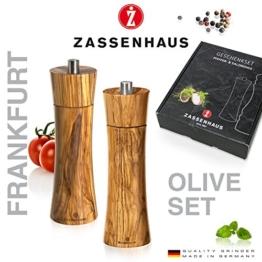 Zassenhaus 0000023046 Mühlen-Set Frankfurt, Olivenholz, braun, 6.2 x 22.4 x 25.8 cm -
