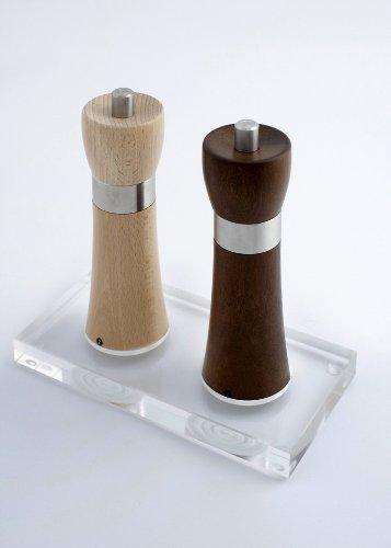 Zassenhaus Set Hamburg Salzmühle natur + Pfeffermühle nussbaum +Design-Menage aus Acrylglas -