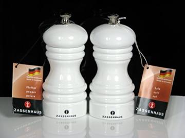 """Zassenhaus Set: Pfeffermühle & Salzmühle """"Berlin"""" 12 cm, weiß Hochglanz, Restposten Sonderpreis -"""