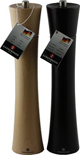 Zassenhaus Set Serie Frankfurt 18cm Salz- und Pfeffermühle Farbe Buche Natur / Wenge im Geschenkkarton -