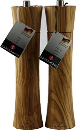 Zassenhaus Set Serie Frankfurt 24cm Salz- und Pfeffermühle Farbe robustes Olivenholz im Geschenkkarton -