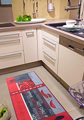 Andiamo 282565 Teppichläufer Küchenläufer Hot Pepper, Chili Schote, 67 x 200 cm, rot -