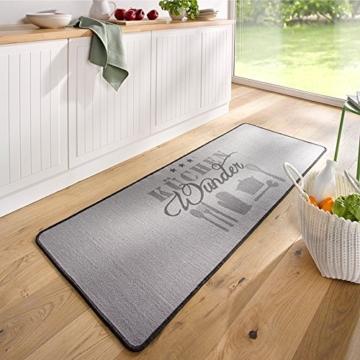 Design Velours Küchenläufer Küchenwunder Grau 67x180 cm -