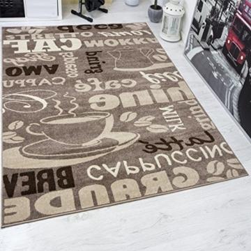 Kaffee Design Teppich Trendig, verschiedene Schriftarten und Muster in  Beige ideal für die Lounge oder Küche – ÖKO TEX Zertifiziert, Maße:80×150 cm