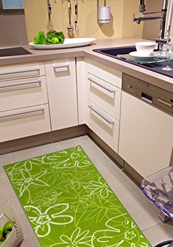 Küchenläufer in Grün, pflegeleichter & robuster Läufer mit Blumenmuster, schadstoffgeprüfter Teppichläufer, Farbe:Grün;Größe:67x200cm -