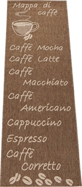 Küchenläufer / Küchenmatte / Dekoläufer für Küche und Bar / Esszimmer / Teppich / Läüfer / Küchenläufer / Küchendeko Cappuccino / Latte Macchiato / Caffe / Espresso / Größe ca. 67 x 180 cm (Kaffee braun) -