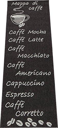 Küchenläufer / Küchenmatte / Dekoläufer für Küche und Bar / Esszimmer / Teppich / Läüfer / Küchenläufer / Küchendeko Cappuccino / Latte Macchiato / Caffe / Espresso / Größe ca. 67 x 180 cm (Anthrazit) -