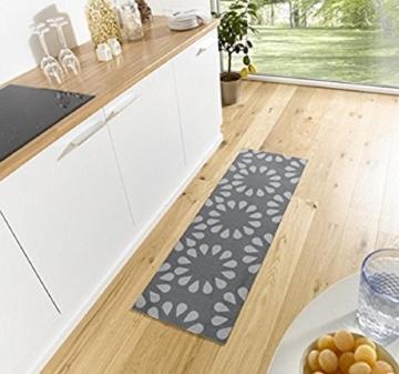 Küchenläufer / Küchenmatte / Dekoläufer für Küche und Bar / Teppich / Läüfer / Läufer / waschbare Küchenläufer / Küchendeko Modell ,,COOK & WASH - grau Blumenmuster -