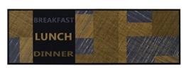 Küchenläufer / Küchenmatte / Dekoläufer für Küche und Bar / Teppich / Läüfer / waschbare Küchenläufer / Küchendeko Modell COOK & WASH Breakfast Lunch Dinner schwarz grau braun Größe ca. 50 x 150 cm / Maschinen waschbar auf 30 grad -