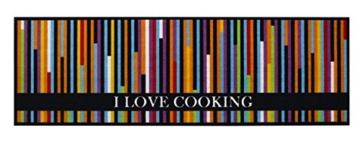 Küchenläufer / Küchenmatte / Dekoläufer für Küche und Bar / Teppich / Läüfer / waschbare Küchenläufer / Küchendeko Modell COOK & WASH I Love Cooking bunt Größe ca. 50 x 150 cm / Maschinen waschbar auf 30 grad -