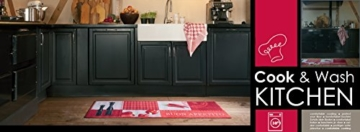 Küchenläufer / Küchenmatte / Läufer / Dekoläufer für Küche und Bar / Hot Chili / Pfeffer / Paprika / Rot / Der Hingucker in Ihrer Küche / Ihre Gäste werden staunen / waschbare Küchenläufer / Küchendeko Modell ,,COOK & WASH buon appetito
