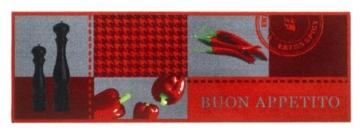"""Küchenläufer / Küchenmatte / Läufer / Dekoläufer für Küche und Bar / Hot Chili / Pfeffer / Paprika / Rot / Der Hingucker in Ihrer Küche / Ihre Gäste werden staunen / waschbare Küchenläufer / Küchendeko Modell ,,COOK & WASH buon appetito """" Größe ca. 50 x 150 cm / Maschinen waschbar auf 30 ° Grad -"""