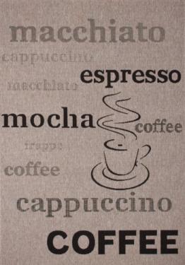 Lalee  347180356  Teppich / Sisal Optik / Flach / Küche / Muster : Kaffee Bistro / Silber / Grösse : 80 x 150 cm -