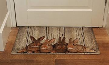 Mars & More - waschbare Fußmatte, Küchenmatte, Fußabtreter - Hasen Familie - waschbar -