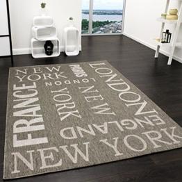 Teppich Modern City Sisal Optik Flachgewebe Designer Teppich in Grau, Grösse:80x150 cm -