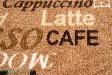 Teppich Modern Flachgewebe Gel Läufer Küchenteppich Küchenläufer Braun Beige Schwarz mit Schriftzug Coffee Macchiato Cappuccino Espresso Größe 80 x 300 cm -