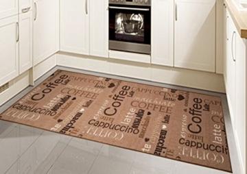 Teppich Modern Flachgewebe Gel Läufer Küchenteppich Küchenläufer Braun Beige Schwarz Creme mit Schriftzug Coffee Cappuccino Espresso Macchiato Größe 80x150 cm -
