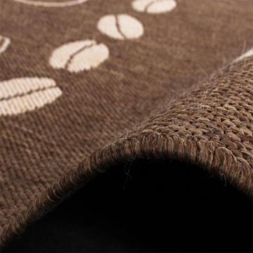 Teppich Modern Flachgewebe Sisal Optik Küchenteppich Coffee Braun Beige Töne, Grösse:80x200 cm -