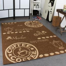 Teppich Modern Flachgewebe Sisal Optik Küchenteppich Coffee Braun Beige Töne, Grösse:80x150 cm -