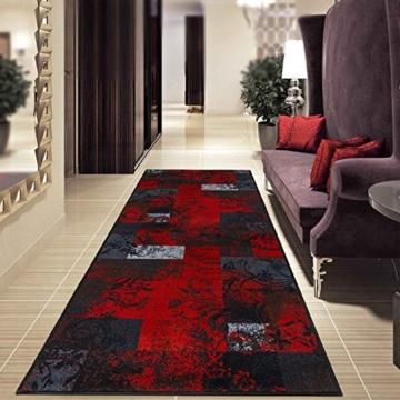 Teppichläufer mit modernem Design in brillianten Farben | hochwertige Meterware, gekettelt | Kurzflor Teppich Läufer | Küchenläufer, Flurläufer (67x350 cm) -