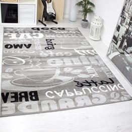 Trendiger Kaffee Teppich, verschiedene Schriftarten und Muster, Meliert in Grau, Weiß und Schwarz ideal für die Lounge oder Küche - ÖKO TEX Zertifiziert, Maße:120 cm x 170 cm -