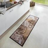Waschbarer Küchenläufer Coffee Stamp Braun 50x150 cm   102451 -
