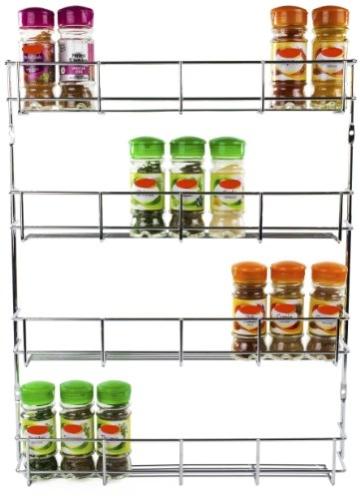 Andrew James - Gewürzregal - 4 Etagen - Zur Befestigung an Wand oder Küchenschrank - 2 Jahre Garantie -