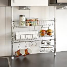 bremermann® Küchen-Teleskopregal inkl. Rollenhalter, Ablagekorb, Haken, 6416 -