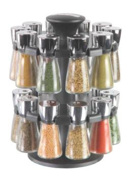 """Cole & Mason H100759 """"Hudson"""" Karussell mit 20 gefüllten Kräuter- und Gewürz-Gläsern -"""