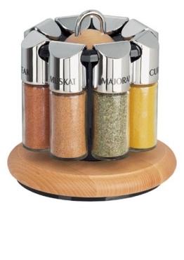 Emsa 2502081690 Gewürzkarussell, 8 Gewürze, Echtes Buchenholz und Glas, Buche/Chrom, Scandic -