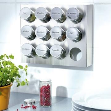 Gewürzregal aus Edelstahl mit 12 Gewürzgläsern aus Kunststoff -