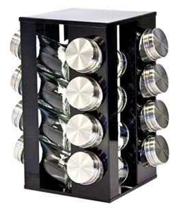 Gewürzregal mit 16 Gewürzgläsern, drehbar, Metallic-Design, erhältlich in Rubinrot, Onyxschwarz und Quartssilber onyx -
