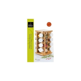 Gewürzständer aus Bambus - 16 Glasbehälter + drehbarer Halter -