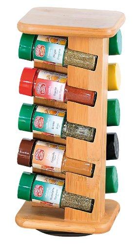 Kesper 1909313 Gewürzkarussell mit 10 gefüllten Gewürzgläsern Bambus -