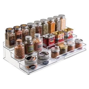 mDesign Gewürzregal für Küchenschrank - ausziehbare Aufbewahrungsmöglichkeit für Ordnung in der Küche - 3 Ebenen, durchsichtig -