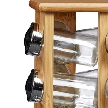 Relaxdays Gewürzständer aus Bambus mit 16 Gewürzgläsern HBT ca. 30 x 19,5 x 19,5 cm stehendes Gewürzregal mit Gewürz-Behältern als Gewürzkarussell mit Einsatz zum Streuen von Gewürzen, natur -