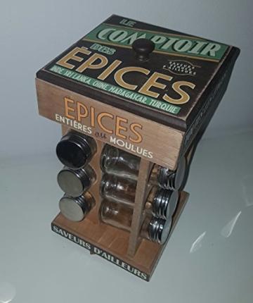 Retro Vintage Gewürzkarussell mit 12 Gläser -