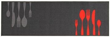 Küchenläufer / Küchenmatte / Dekoläufer für Küche und Bar / Teppich / Läüfer / Küchenläufer / Küchendeko Modell / grey / Besteck / grau / Größe ca. 57 x 140 cm -