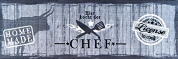 Küchenläufer / Küchenmatte / Dekoläufer für Küche und Bar / Teppich / Läüfer / Läufer / waschbare Küchenläufer / Küchendeko Modell ,,COOK & WASH - Hier kocht der Chef - grau - Holz Optik - Größe ca. 50 x 150 cm / Maschinen waschbar auf 30 grad -