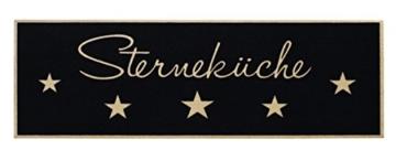"""Küchenläufer / Küchenmatte / Dekoläufer für Küche und Bar / Teppich / Läüfer / Läufer / waschbare Küchenläufer / Küchendeko Modell ,,COOK & WASH fünf Sterneküche """" Größe ca. 50 x 150 cm / Maschinen waschbar auf 30 grad 5 Sterneküche schwarz -"""