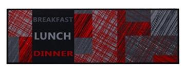 Küchenläufer / Küchenmatte / Dekoläufer für Küche und Bar / Teppich / Läüfer / waschbare Küchenläufer / Küchendeko Modell COOK & WASH Breakfast Lunch Dinner schwarz rot grau Größe ca. 50 x 150 cm / Maschinen waschbar auf 30 grad -