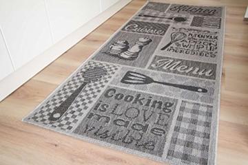 Küchenläufer Lounge Salt + Pepper Grau Küchenteppich Läufer, GUT Siegel Zertifiziert, Größe: 80x200 cm -