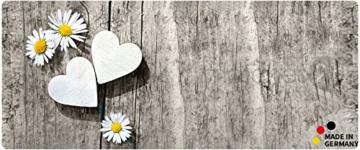 matches21 Küchenläufer Teppichläufer Teppich Läufer Gänseblümchen & Herzen auf Holz 50x120x0,4 cm maschinenwaschbar -
