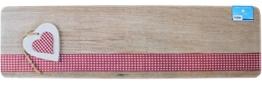 matches21 Küchenläufer Teppichläufer Teppich Läufer Landhaus Herzen auf Holz 50x180x0,4 cm maschinenwaschbar rutschfest Küchenvorleger -